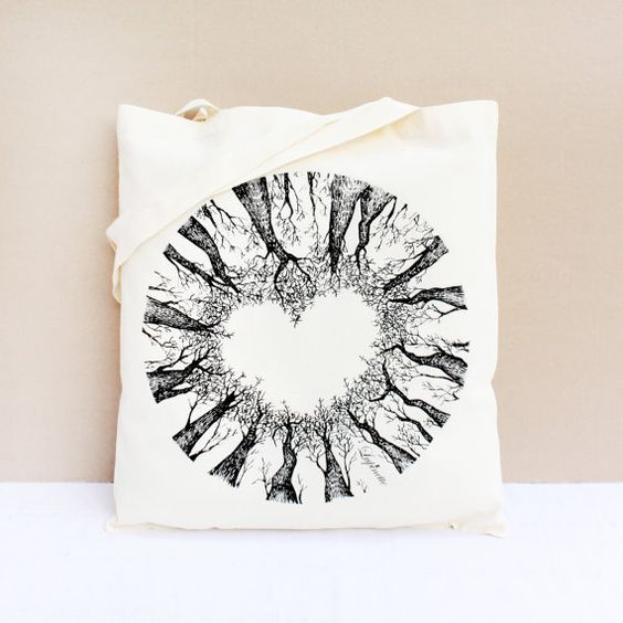 Tote Bag / Shopping Bag / Cotton Tote Bag  The Love by Lupinette