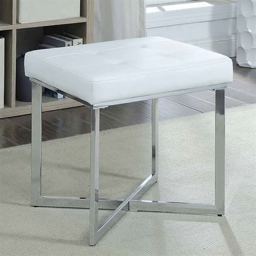 Shaw White Faux Leather Upholstered Vanity Bench Vanity Seat