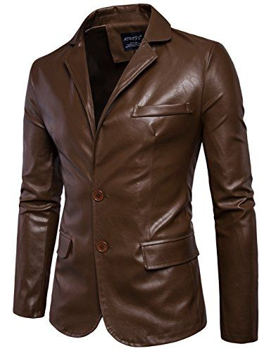 Mens Fashion Faux Leather Blazer Jacket Tailored Collar Two Button Jacket XL Dark brown