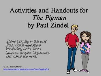 main characters in the pigman a novel by paul zindel Novel in that nearly all information, all conflict, and most of the plot is carried  through  are you more like lorraine, john, or the pigman, and why in order to .