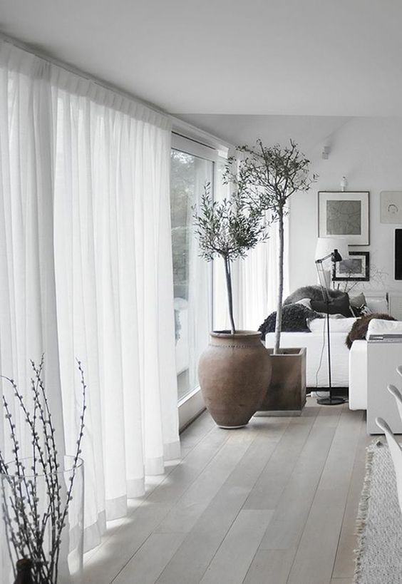Linen Sheer Curtains In White Home Living Room Curtains Living Room House Interior