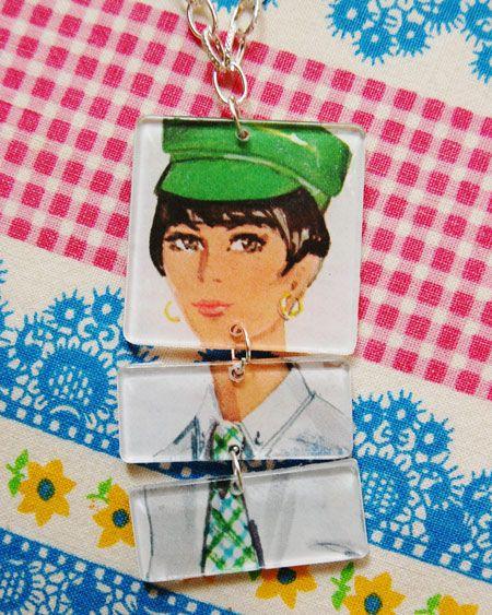Mod Girl Pattern Necklace