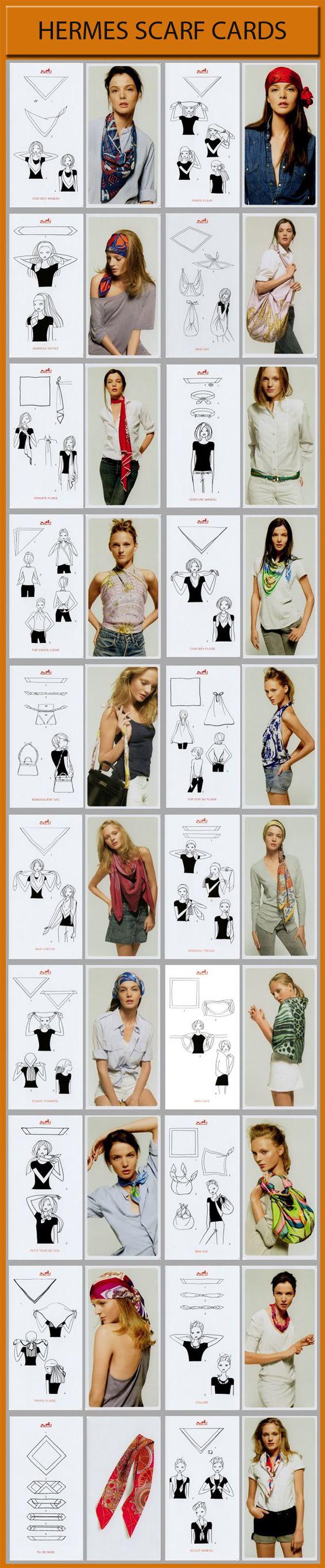 Hermes Scarf Cards - How to knot scarves 21 different ways y si no te quedo claro ven a uterque!!  contamos con una gran variedad de bonitos pañuelos y estaremos encantadas de enseñarte come ponerlos.
