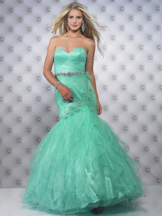 Dramatic Sweetheart Neckline Trumpet Full Length Aqua Tulle Mermaid Prom Dresses With Ruffles #DesignerDress #CheapDress  #QuinceaneraDresses  #CocktailDress  #Fashion  #PromDress  #BatMitzvahDresses #EveningDresses #MarineBallDresses #MaxiDresses