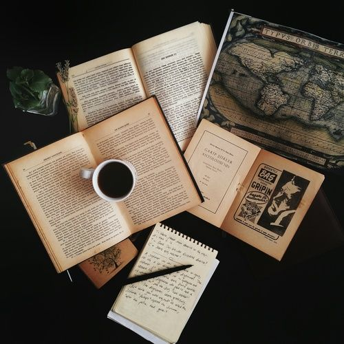 book, coffee, and vintage image: