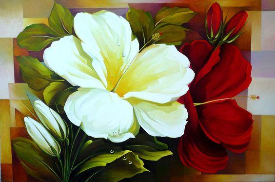 *Hibiscos Branco e Vermelho*