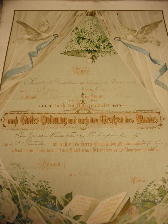 Vintage German Wedding Certificate