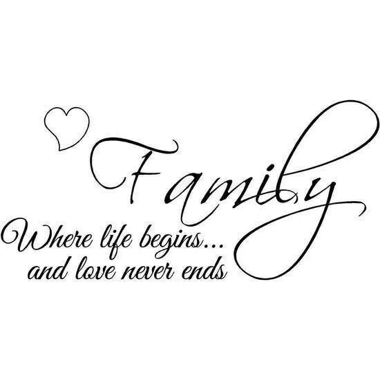 Family, where Life Begins Wall Quote  |Family Love Life