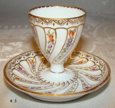 Antique Dresden GERMANY Egg Cup with Attached Liner Helen Wolfsohn c 1890's