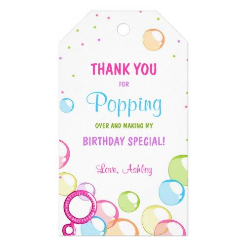Pastel Balloons Birthday Personalized Gift Bag Favor Labels