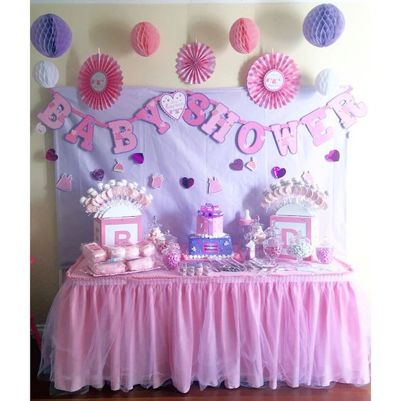 Baby Shower Ideas With Purple ~ Pink lavender baby shower dessert table