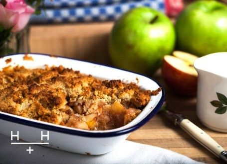Apple Crumble and Ginger Creme Fraiche  is classic English dessert came about during the Second World War. In order to make rations go further the crumble was invented to use less sugar, flour and margarine than a full pie crust. We wanted to make a crumble that is nourishing so our topping is a mixture of nutrient-rich almonds and butter, instead of refined flour and margarine, and a dash of maple syrup for sweetness.  Click photo for recipe