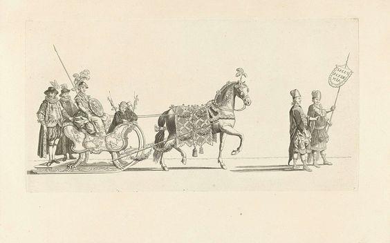 Nicolaas van der Worm | Zevende slede, Nicolaas van der Worm, Abraham Delfos, 1776 | De zevende slede in de optocht. Een slede met Minerva getrokken door een paard en voorafgegaan door twee personen in Griekse kleding. Onderdeel van een reeks van twaalf platen van de sledevaart op 24 januari 1776 georganiseerd door het Leidse genootschap Veniam Pro Laude bij gelegenheid van het Tweede Eeuwfeest van het Leids Ontzet (3 oktober 1574) en de oprichting van de Universiteit van Leiden (8 februari…