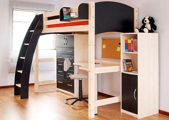 Bunk Bed With Desk Underneath For Boys Kids Loft Beds Modern
