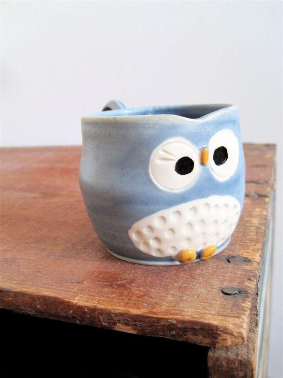 Hooter Owl Mug Austin in Stone Cold Blue by ArtHausCeramics