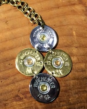 """12 Gauge Winchester Gold-Silver Tori on 30"""" Vintage Gold Chain Necklace"""
