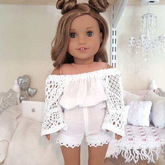 American girl doll white romper by SewCuteForever on Etsy
