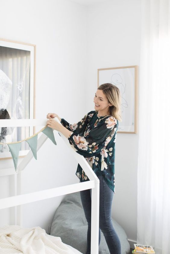 Handmade bunting, Australian themed kids bedroom, kids bedroom, children's bedroom, house bed, kids bed, kids bedroom styling ideas, koala print, kids bean bag, Gina Ciancio