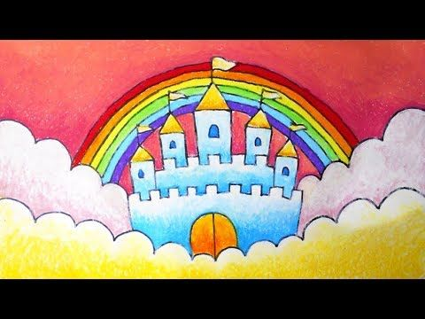 How To Draw A Castle Menggambar Istana Oil Pastel Gambar