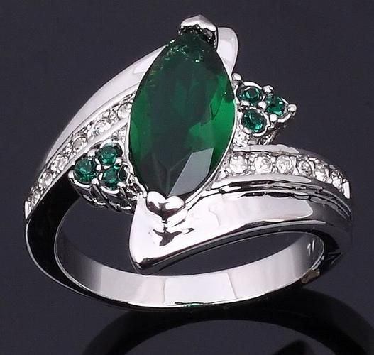 'Dazzling 10K WGF Created Green Emerald Ring-Sz.9' is going up for auction Wed, May 8 with a starting bid   of $7.  @Tophatter