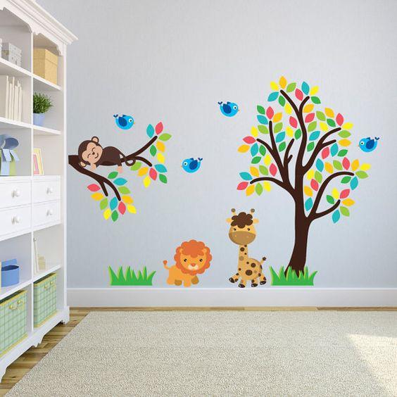 Rama y árbol con pegatinas de animales de selva selva por Mirrorin