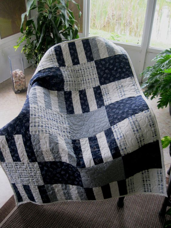 Baby Nautical Nursery Crib Quilt  38 x 50 in by MagnoliaQuilts, $80.00