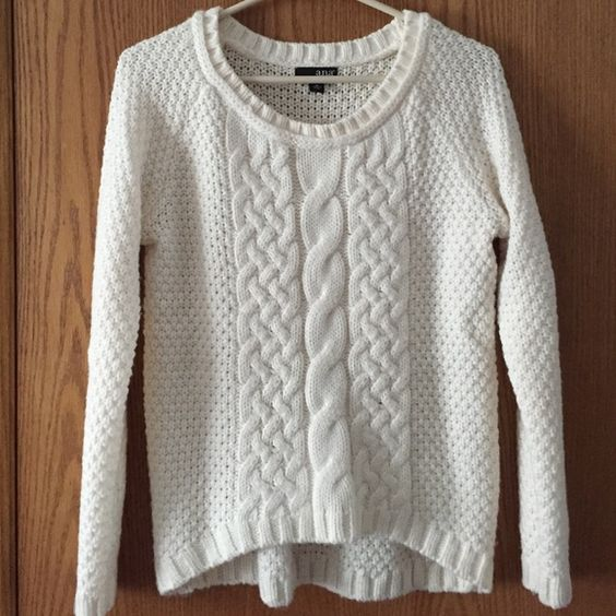 """White sweater Beautiful white A.N.A. sweater, comfy, soft and easy to match with any kind of bottom. Slight high low, with a """"braided"""" front. Make me an offer! a.n.a Sweaters"""