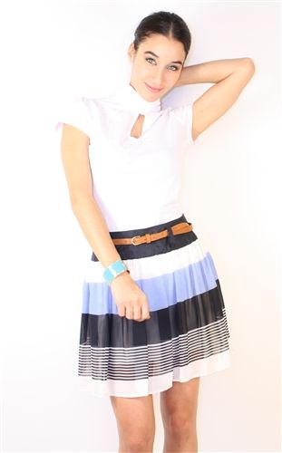 summer blue skirt with leather belt