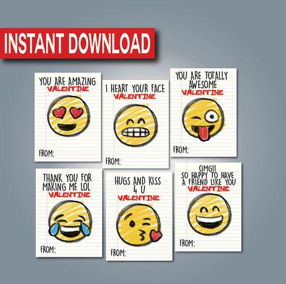 Emoji Valentines CardInstant download Printable Digital Files