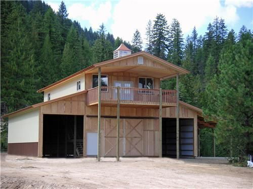 Barn living pole quarter with metal buildings monitor for Pole barn garage with living quarters
