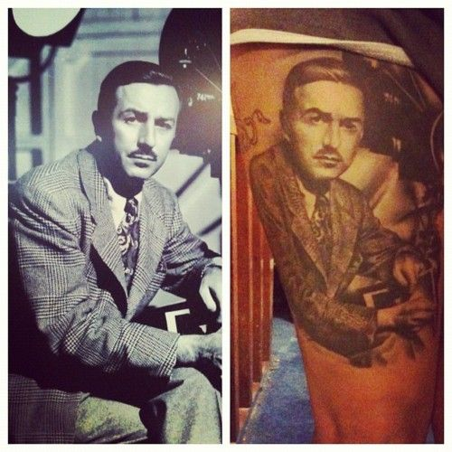 Walt Disney portrait tattoo. Done by Sarah Miller, Wyld Chyld Tattoo, Pittsburgh, PA.