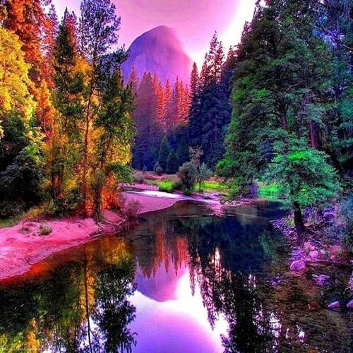 3d Diy Diamond Painting Pink Clouds Over The Lake Craft Kit Nature Pictures Beautiful Nature Beautiful Landscapes
