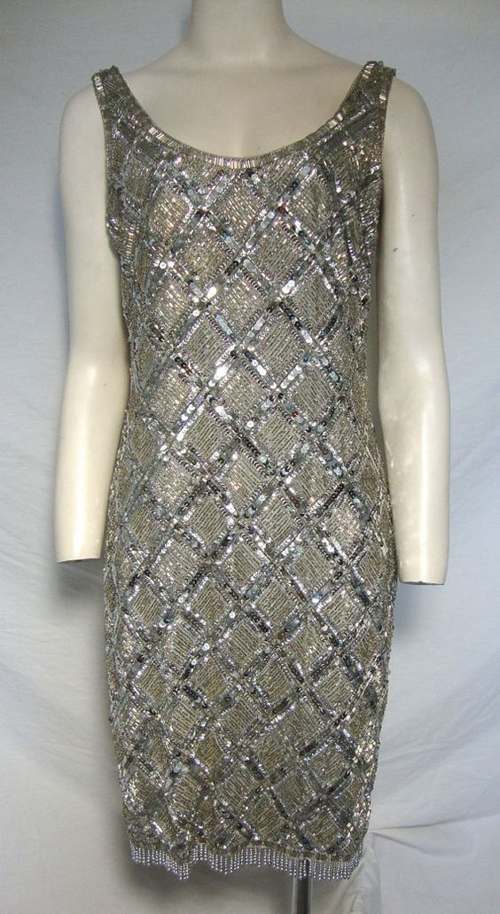 Vintage Oleg Cassini Beaded Cocktail Dress by greenthreadsboutique ...