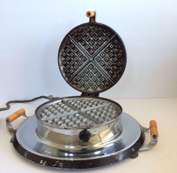 Mid Century VTG GENERAL ELECTRIC HOTPOINT Waffle Iron Butterscotch Bakelite WORK  | eBay