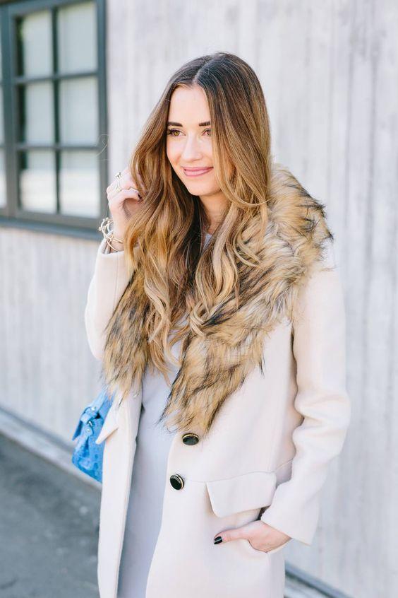 White coat with fur trim. Via. M Loves M White coat outfit fur