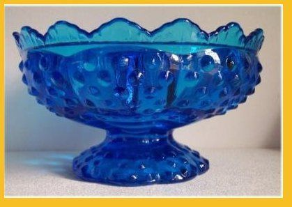 "Fenton Fenton Colonial Blue Candle BowlFenton Colonial Blue Hobnail Candle Bowl. Hold candles 4 ways. 1. Regular Taper in center. 2. 3"" Candle in center 3. 2"" Candle in center 4. 5 minor style candles around the outside. I love this beautiful color! When candles are lit, it must really be gorgeous"
