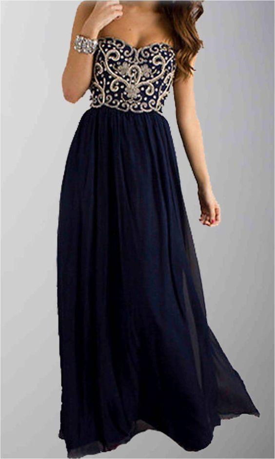 Navy Blue Dazzling Embrodiery Long Formal Dresses KSP285