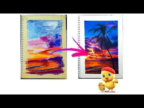 رسم منظر طبيعى بالالوان الاويل باستل Youtube Artwork Starry Night Drawings