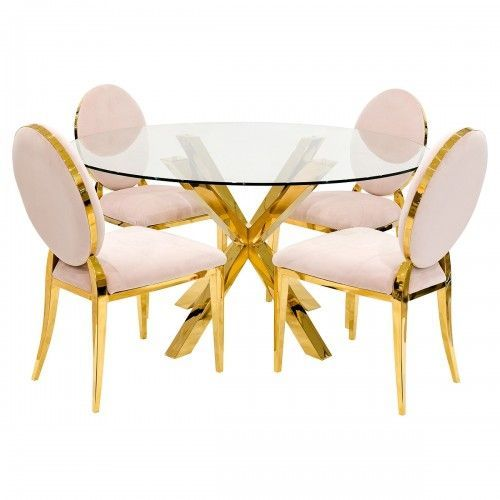 Crossly Gold Glass Round Dining Table Four Bespoke Chairs The