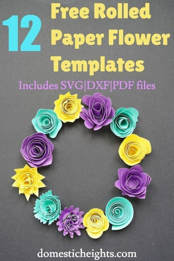 12 Free Rolled Flower Svg Templates Diy 3d Paper Flowers 3d