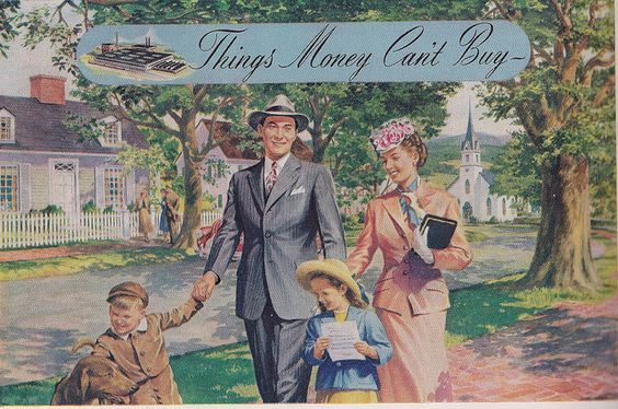 1940s illustration of the All-American family (Repin: Love the church so prominent in the background.)