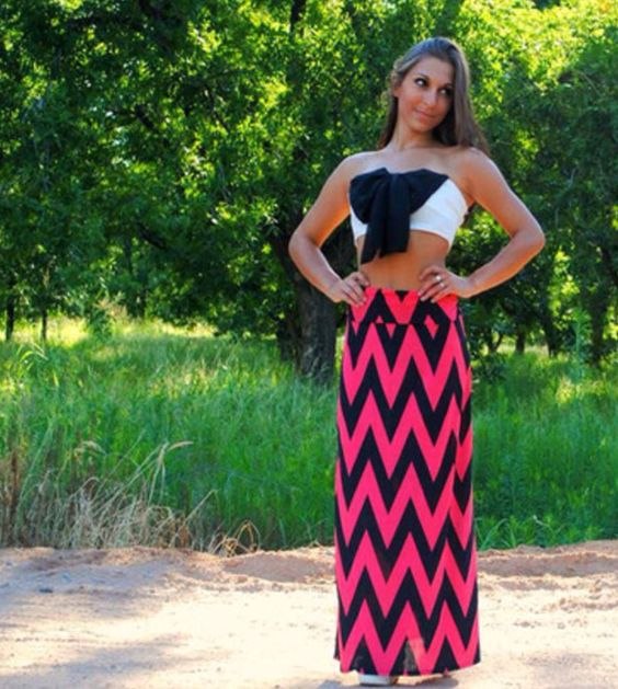 Maxi skirt with cropped bow top