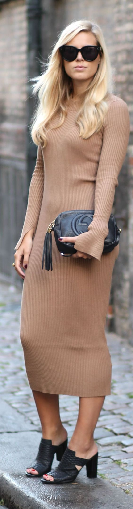 Haute in Philadelphia. Fall is here . Camel Ribbed Midi Dress Fall Inspo:
