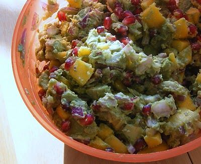 Guacamole with Pomegranate and Mango. SO good!