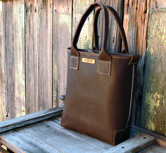 Rustic Tote V2 Hand stitched leather / hand sewn by FeralEmpire -- absolutely gorgeous! $230