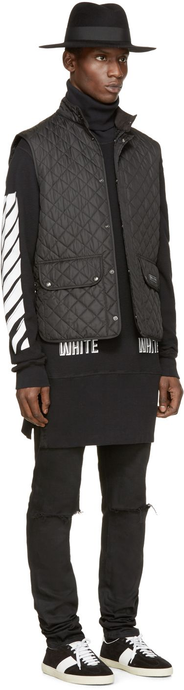 Off-white: Black Waffle Knit Turtleneck | SSENSE