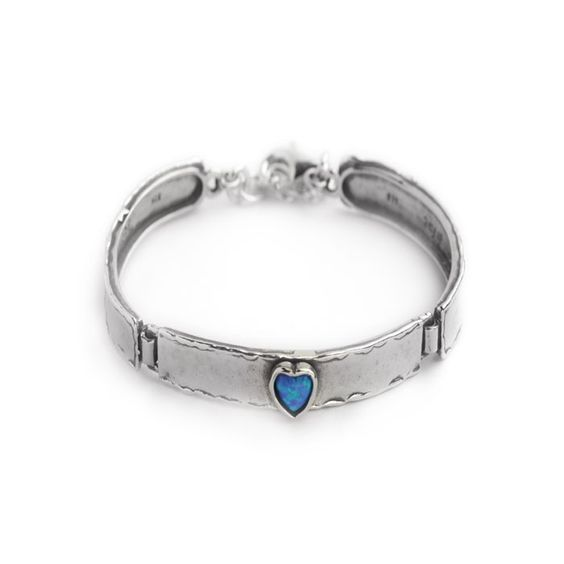 Aviv Silver - silver bracelet with opal heart on the middle link, £103.99 (http://www.avivsilver.co.uk/silver-bracelet-with-opal-heart-on-the-middle-link/)