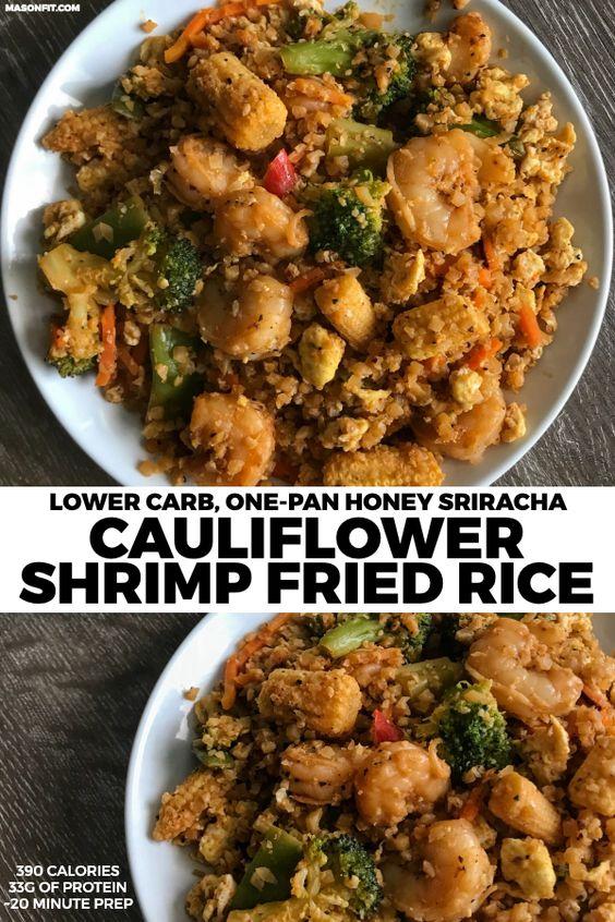 Honey Sriracha Shrimp Fried Cauliflower Rice
