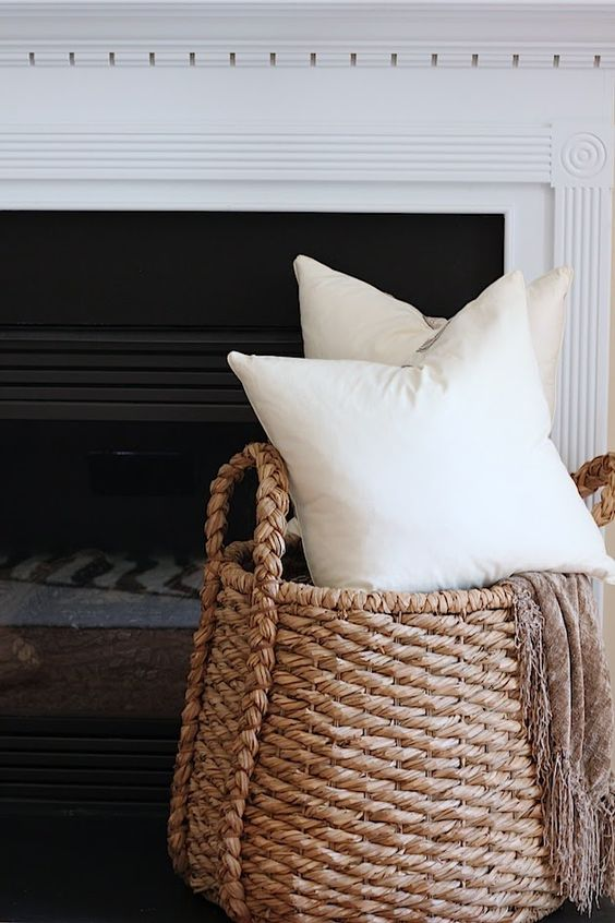 Basket to hold pillows and a blanket!