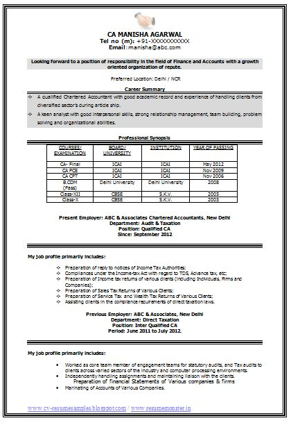 sample curriculum vitae for accountants